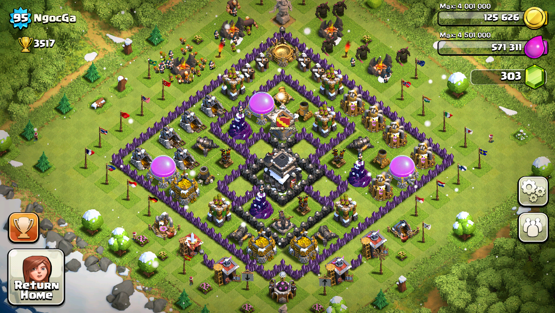 Clash of Clans Base Design for Townhall Level 9 by ngocga