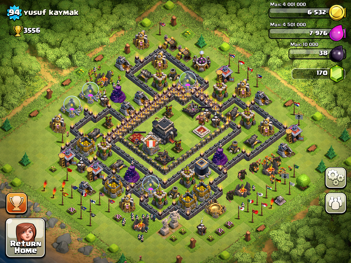 Clash of Clans Base Design for Townhall Level 9 with HEROS by yusuf kaymak