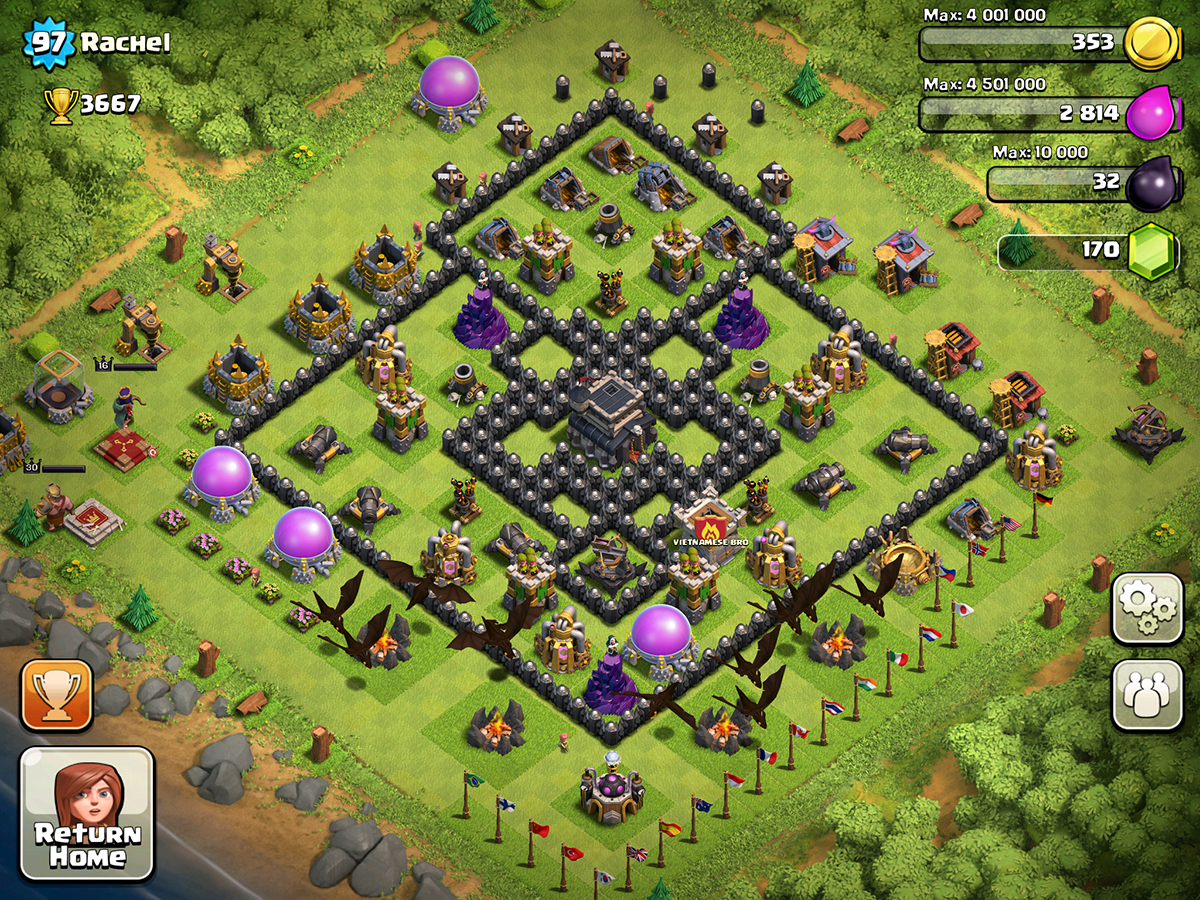 Clash of Clans Base Design for Townhall Level 9 with HEROS by rachel