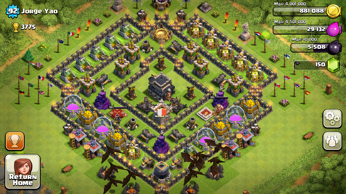 Clash of Clans Base Design for Townhall Level 9 with HEROS by jorge yao