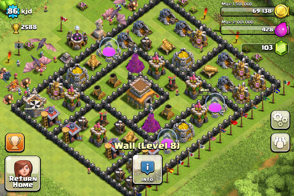 Clash of Clans Base Design for Townhall Level 8 by kjd