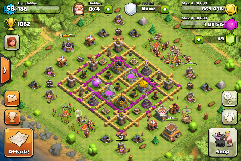 Clash of Clans Base Design for Townhall Level 8 by ball cutter