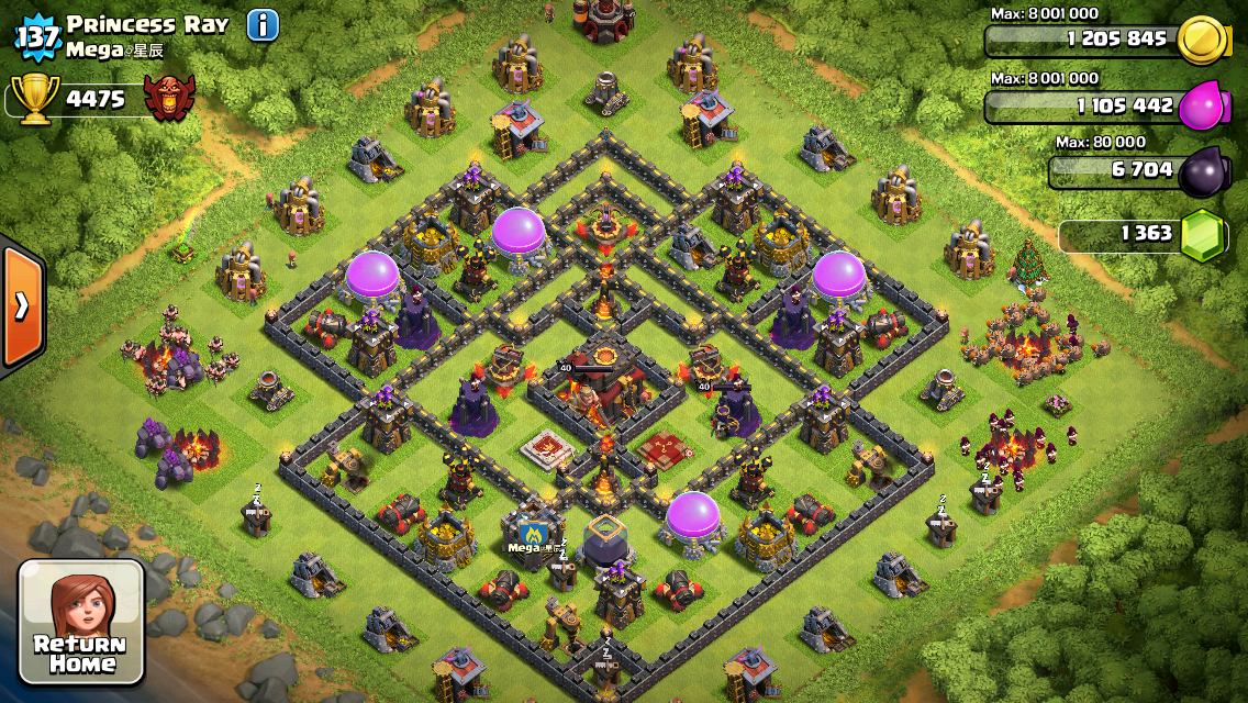 Clash of Clans Base Design for Townhall Level 10 by Princess Ray