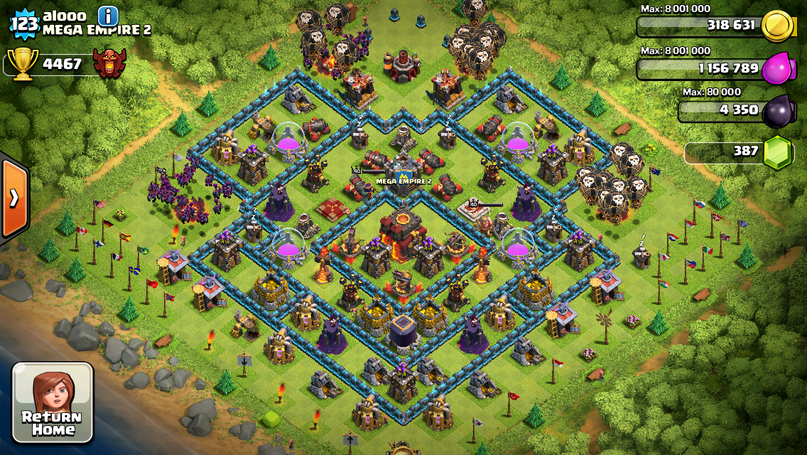 Clash of Clans Base Design for Townhall Level 10 by alooo
