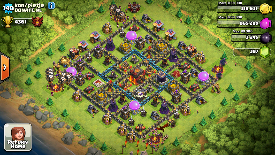 Clash of Clans Base Design for Townhall Level 10 by kor/pietje